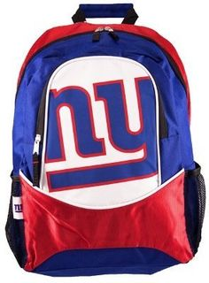 "16"" - NFL Football - New York Giants Backpack by Little Earth. $17.49. Size: 16.5"" x 12"" x 5"". Whether it's back to school, heading to the big game or a trek into the wilderness, this officially licensed backpack is the perfect accessory.  This backpack is constructed of very durable material to ensure long life and dependability.  Three roomy interior pockets let you store all your belongings and there's even cargo netting on the sides for more storage.  The a..."