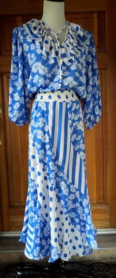 Dress 80s Susan Freis Polka Dots Florals by caligodessvintage