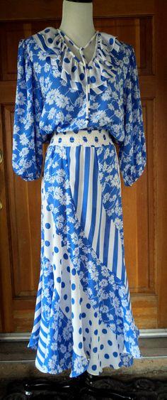 Dress 80s Susan Freis Polka Dots Florals by caligodessvintage