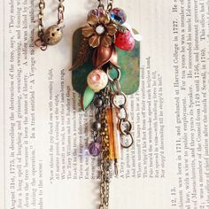 Cluster Vintage Buttons and Czech Glass Necklace.               Vintage Revival Jewelry by We Are Creatures