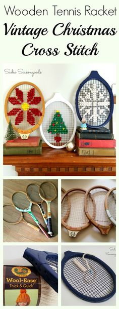 Oversized cross stitch is so trendy right now, but have you ever seen it like this? A vintage wooden tennis racket (racquet??) from the thrift store is the PERFECT medium for cross stitch using chunky yarn...and it's already pre-framed. Four Christmas cross stitch patterns are available to you for free in this tutorial! Amazing, festive repurpose / upcycle DIY holiday craft project from #SadieSeasongoods / www.sadieseasongoods.com