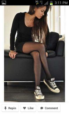 Black bodycon dress with converse Cute Fashion, Look Fashion, Fashion Beauty, Mode Outfits, Fashion Outfits, Womens Fashion, Dress Fashion, Teen Fashion, Fashion Ideas