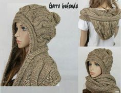 Se confecciona en tres partes y esta tejida con lana mas bien gruesa es decir de unas 4 hebras y palillos del numero 7 BUFANDA Comienzen urdiendo 30 puntos y se tejen de la sgte manera; Hooded Scarf Pattern, Crochet Hooded Scarf, Crochet Scarves, Crochet Clothes, Knit Crochet, Crochet Hats, Crochet Stitches, Loom Knitting, Baby Knitting