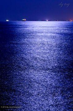 Moonlight on the deep blue sea
