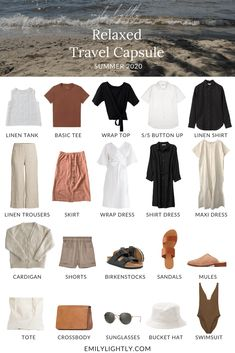 Capsule Outfits, Fashion Capsule, Capsule Wardrobe Summer, Travel Wardrobe Summer, Summer Travel Outfits, Capsule Clothing, Travel Clothing, Outfits Casual, Komplette Outfits
