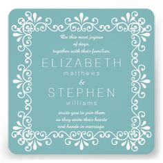 Teal Elegant Floral Swirls Frame Wedding Personalized Announcements