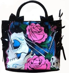 Iron Fist Sugar Witch Goth Tattooed Day of the Dead Sugar Skull Vegan Handbag Purse Tote,$49.25