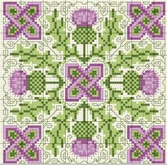 Cross-stitch Scottish thistle biscornu ... no color chart available, just use the pattern chart as your color guide.. or choose your own colors...