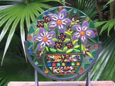 FIESTA BOUQUET fused stained glass flower por IZABELLAArtGlass