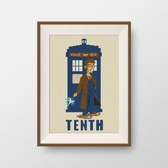 Doctor Who Cross stitch pattern -  PDF counted cross stitch pattern - Tardis stitch pattern - Doctor TENTH, P074 by NataliNeedlework on Etsy