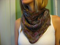Spring Colors Hand Knit Shawl/Neck Wrap. $40.00, via Etsy.