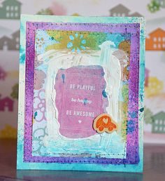 Could work well as a postcard. Loving all the paint and colors! #postcard #handmade #inspiration
