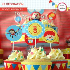 Circo: decoración de fiesta para imprimir Carnival Birthday Parties, Circus Birthday, Happy Birthday, Vintage Circus Party, Clown Party, Ideas Para Fiestas, Cupcake Wrappers, Party In A Box, Fiesta Party