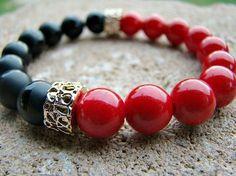 Red Bead Bracelet, Black, Beaded Bracelet, Gemstone Stretch Bracelet, Gold, Stretch Bracelet, Stacking Bracelet, Women's Jewelry, For Her by BeJeweledByCandi on Etsy