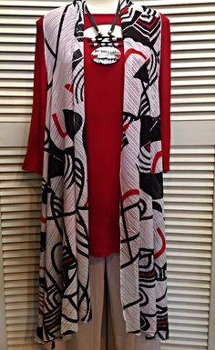 Lior  - Long flowy vest in geometric print  - $86