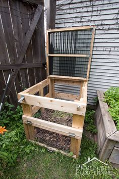 This DIY compost bin is sturdy, easy to open, has good airflow, and latches closed to keep out critters! Free plans + full tutorial here!