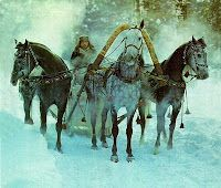Orlov Trotters pull Troika; (Doctor Zhivago) always depicted as heavily decorated sleighs, and the horses as powerfu & spirited animals..