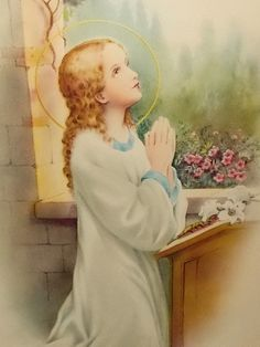 Young Blessed Mother Mary in Prayer - Wood Frame