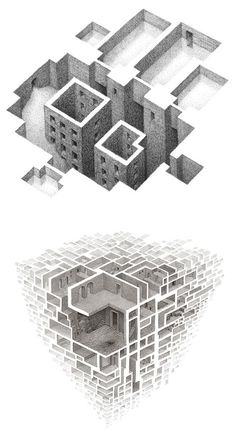 Negative Space Illustrations by Matthew Borett – Inspiration Grid Architecture Drawing Art, Space Architecture, Grid Design, Design Art, Drawing Sketches, Art Drawings, Sketchbook Drawings, Negative Space Art, Arte Steampunk