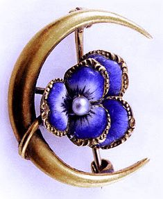 Crescent pin - beautiful enameled pansy