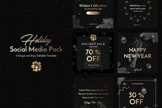 Holiday Social Media Pack by Uidea™ on @creativemarket