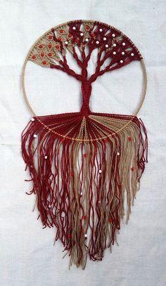 Handmade Macrame Wall Hanging Tree of Life Red-Natural Weaving Wall Hanging, Weaving Art, Macrame Projects, Crochet Projects, Hemp Yarn, Estilo Hippy, Wall Ornaments, Hand Art, Circle Shape