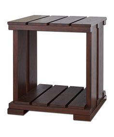 Vintage Walnut Gorden Slatted End Table by Furniture of America #zulily #zulilyfinds