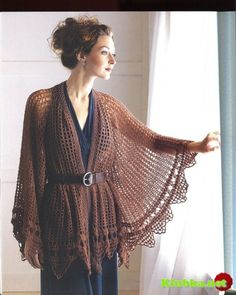 Brown simple poncho with diagram
