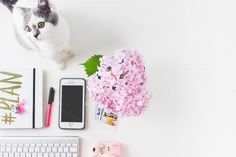 Mraaoooow! | Flatlay Feminine desk Kitten-Flower by epicerie du blog on @creativemarket