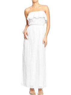 Womens Crinkle-Gauze Tube Maxi Dresses