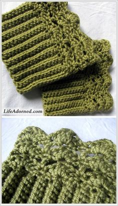 "FREE boot cuffs crochet pattern: Belmont Boot Toppers (Ravelry) Will make nice ""stocking stuffers"" (LOL) for my favorite girlies! Crochet Boots, Crochet Gloves, Crochet Slippers, Knit Or Crochet, Crochet Crafts, Crochet Projects, Free Crochet, Crotchet, Crochet Headbands"