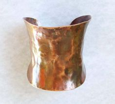 Hammered Copper Cuff Bracelet Wide Cuff Bracelet Size Small Artisan Handmade Rustic Jewelry