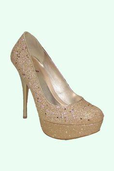 Champagne Glitter Round Toe Pump Shoes