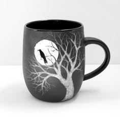 18 oz Black and White Moon Raven Tree Sgraffito by MuddyRaven