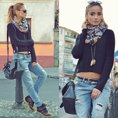 Zara Black Sweater, Zara Boyfriend Jeans, Zara Leopard Wedge Sneakers, H&M Printed Scarf, New Yorker Black Bag