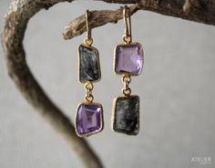 Amethyst & Tourmalinated Quartz Earrings Perfect Gift for Mothers Day by ATELIERGabyMarcos, $139.00