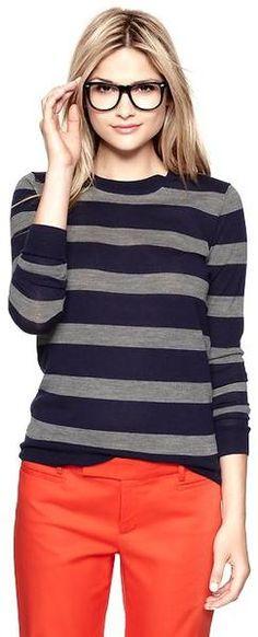 Striped Merino Crew Pullover ~~ Loving the Glasses Too~