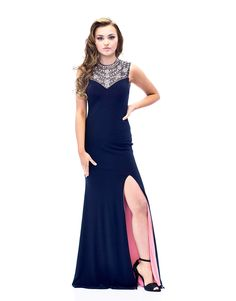 Jeweled High Neck Gown