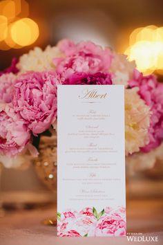 This beautiful menu stayed perfectly on theme, with an abundance of peonies! | Photography By: Lucida Photography | WedLuxe Magazine | #Wedding #luxury #weddinginspiration #luxurywedding #stationery #floral #peonies #menu