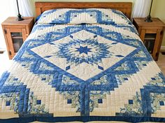 Lone Star Log Cabin Quilt -- magnificent ably made Amish Quilts from Lancaster (hs6790)