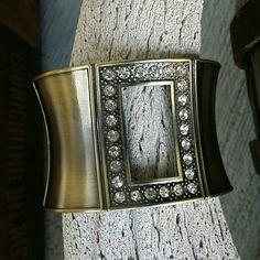 "🎯CLEARANCE $10-Antiqued Crystal Bangle Crystal window frame hinged bangle.  2"" wide. Jewelry Bracelets"