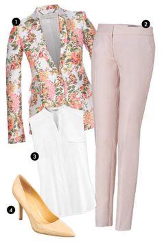 1. Stella McCartney Floral Blazer, $1697.89; farfetch.com 2. Salvatore Ferragamo Lotus Cotton Garbadine Pants, $580; stylebop.com 3. H&M Silk Tank Top, $29.95; hm.com 4. Nine West Patent Pumps, $69; macys.com