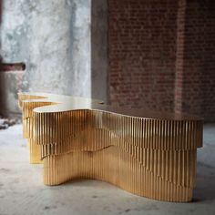 Splash Console - VIYA HOME Metallic brutalist midcentury brass gold console contemporary glamorous consoles sideboard table furniture handcrafted Indian Boutique Interior, Luxury Interior Design, Home Decor Furniture, Furniture Projects, Furniture Design, Table Furniture, Reception Desk Design, Reception Counter, Interior Design Presentation