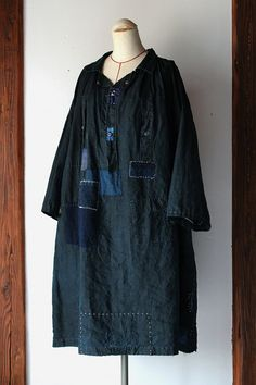 Indigo linen work smock with patched Japanese boro (French C19th)
