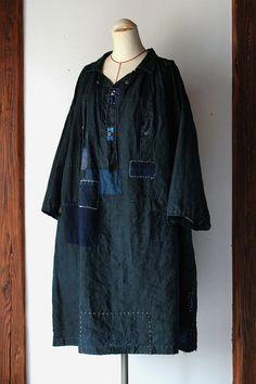 Patchwork de lin Indigo blouse/France 1880 s/biaude/Normandie/natural indigo/japonais boro/sashiko/patché/réparation/travaux d