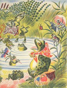 endpaper from Feodor Rojankovsky's 1956 Caldecott winner FROG WENT A-COURTIN'