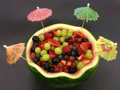 Honey lime marinated fruit in watermelon bowl