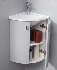 Atlantic Bain lance sa nouvelle collection de meubles d'angle avec lave-mains : découvrez nos meubles Salto ! Basin Cabinet, Floating Bathroom Vanities, Home Decor Kitchen, Tiny Powder Rooms, Single Floor House Design, Bathroom Makeover, Bathroom Design, Small Bathroom Remodel, Basement Design