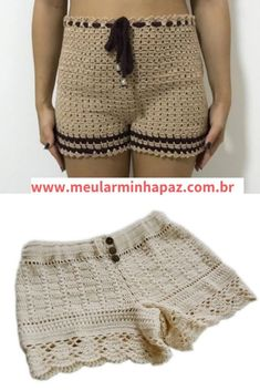 Shorts Tejidos A Crochet, Crochet Shorts Pattern, Como Fazer Short, Short Tejidos, Boho Shorts, Lace Shorts, Free Crochet, Knit Crochet, Knitting Patterns