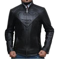 AngelJackets Men's Superhero Superman Smallville Real Leather Jacket M